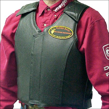 SADDLE BARN BLACK ROUGH STOCK PRO RODEO PROTECTIVE VEST W/ LEATHER POCKET -