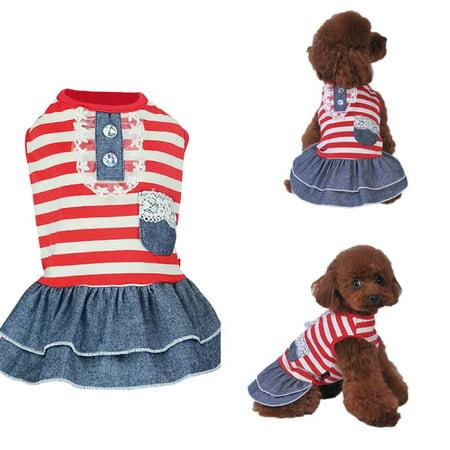 Summer Pet Dog Cute Clothes Costume Stripe Dress Tutu Denim Dress XS- XL Dog Wedding Dress
