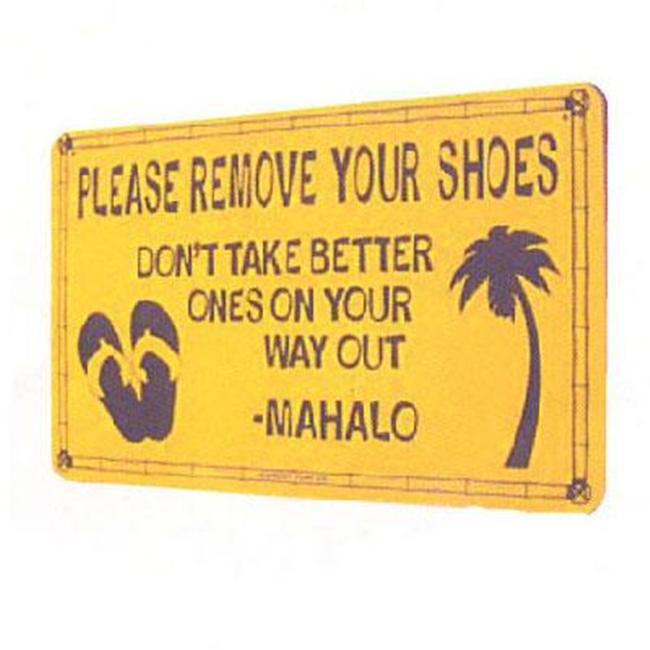 Seaweed Surf Co SF50 12X18 Aluminum Sign Please Remove Your Shoes