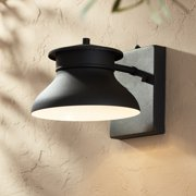 """John Timberland Modern Outdoor Wall Light Fixture LED Black 6"""" Security Dusk To Dawn for Exterior House Porch Patio"""