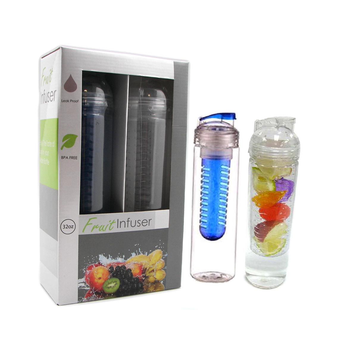 32oz Portable Leak Proof BPA Free Sport Fruit Fusion Infuser Water Bottle Mug (2 pc Set)