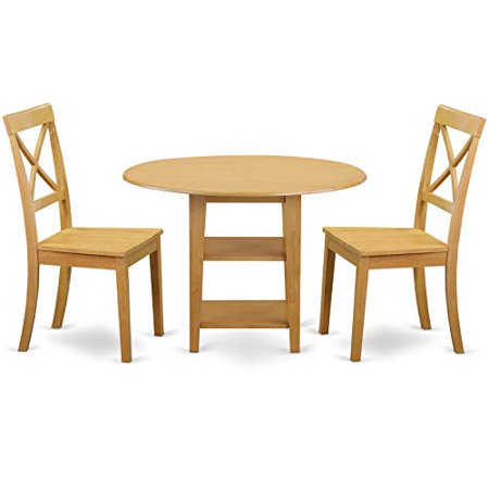 Subo3 Oak W 3 Pc Set With 1 Dinette Table And Two Chairs Wood Seat In A Rich Finish