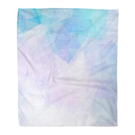 POGLIP Throw Blanket Warm Cozy Print Flannel Blue Geometric from Polygons Abstract Purple Color Comfortable Soft for Bed Sofa and Couch 50x60 Inches - image 1 of 1