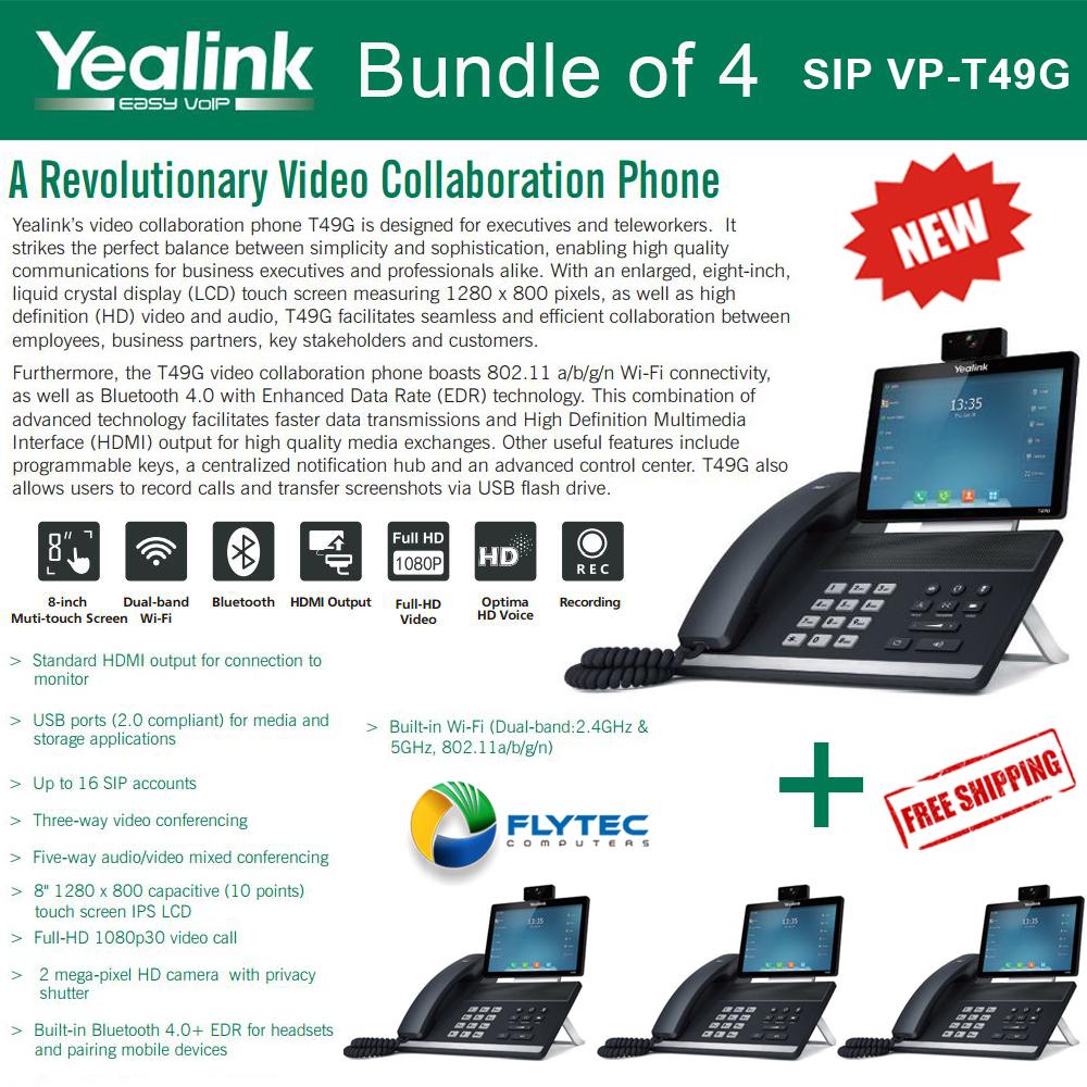 Yealink SIP-T49G 4-PACK Video Phone w/PSU, 16 SIP accounts, Dual-band Wi-Fi