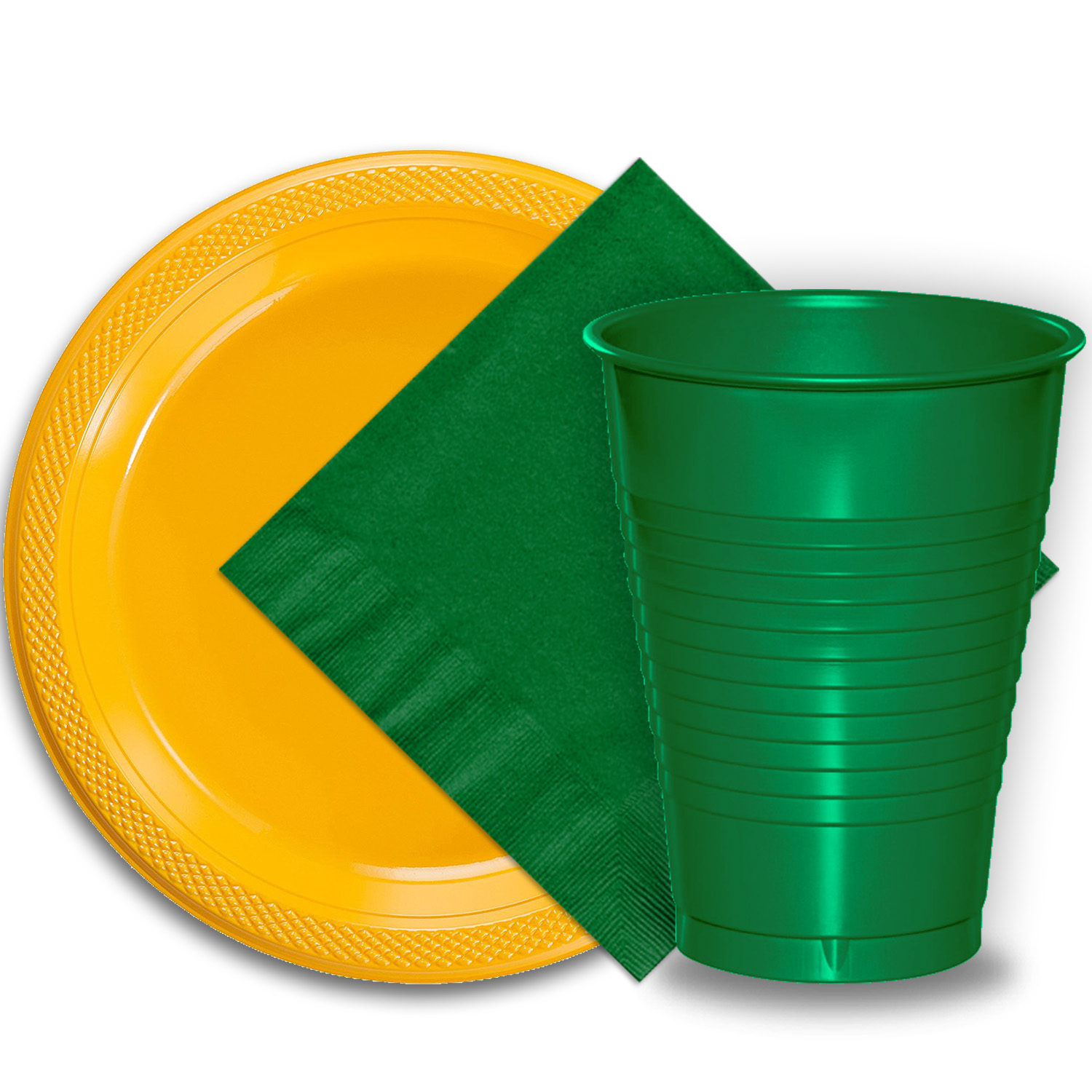 """50 Yellow Plastic Plates (9""""), 50 Emerald Green Plastic Cups (12 oz.), and 50 Emerald Green Paper Napkins, Dazzelling Colored Disposable Party Supplies Tableware Set for Fifty Guests."""