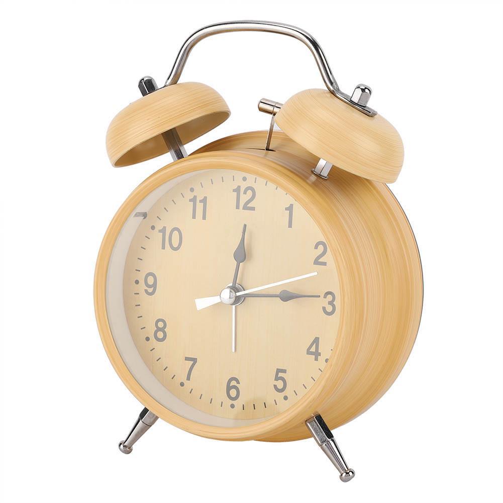 White Double Bell Alarm Clock Desktop Mechanical Alarm Bell Gift for Kids