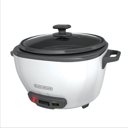 BLACK+DECKER 28-Cup Cooked/14-Cup Uncooked Rice Cooker and Food Steamer, White,