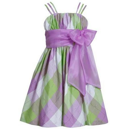 Bonnie Jean Purple Plaid Bow Girls Dress  4-6X  SALE - Girl Dresses Sale