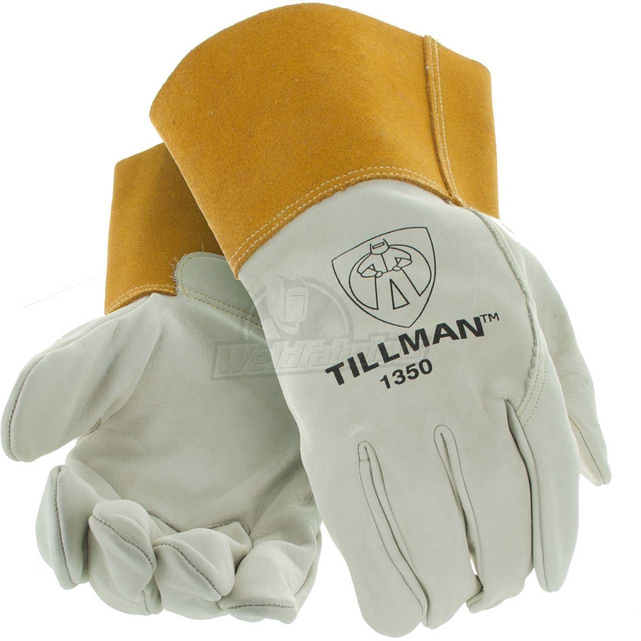 """Cowhide MIG welding gloves Large, Heavy duty top grain cowhide MIG welding gloves. Unlined, with 4"""" cuff for added protection. By Tillman"""