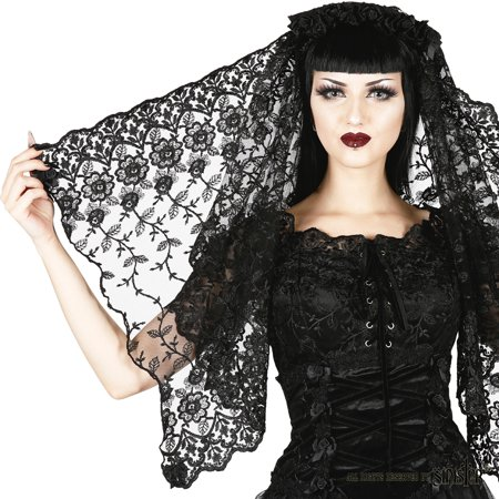 - Sinister Gothic Black Embroidered Lace Bows & Satin Roses Wedding Veil w Roses