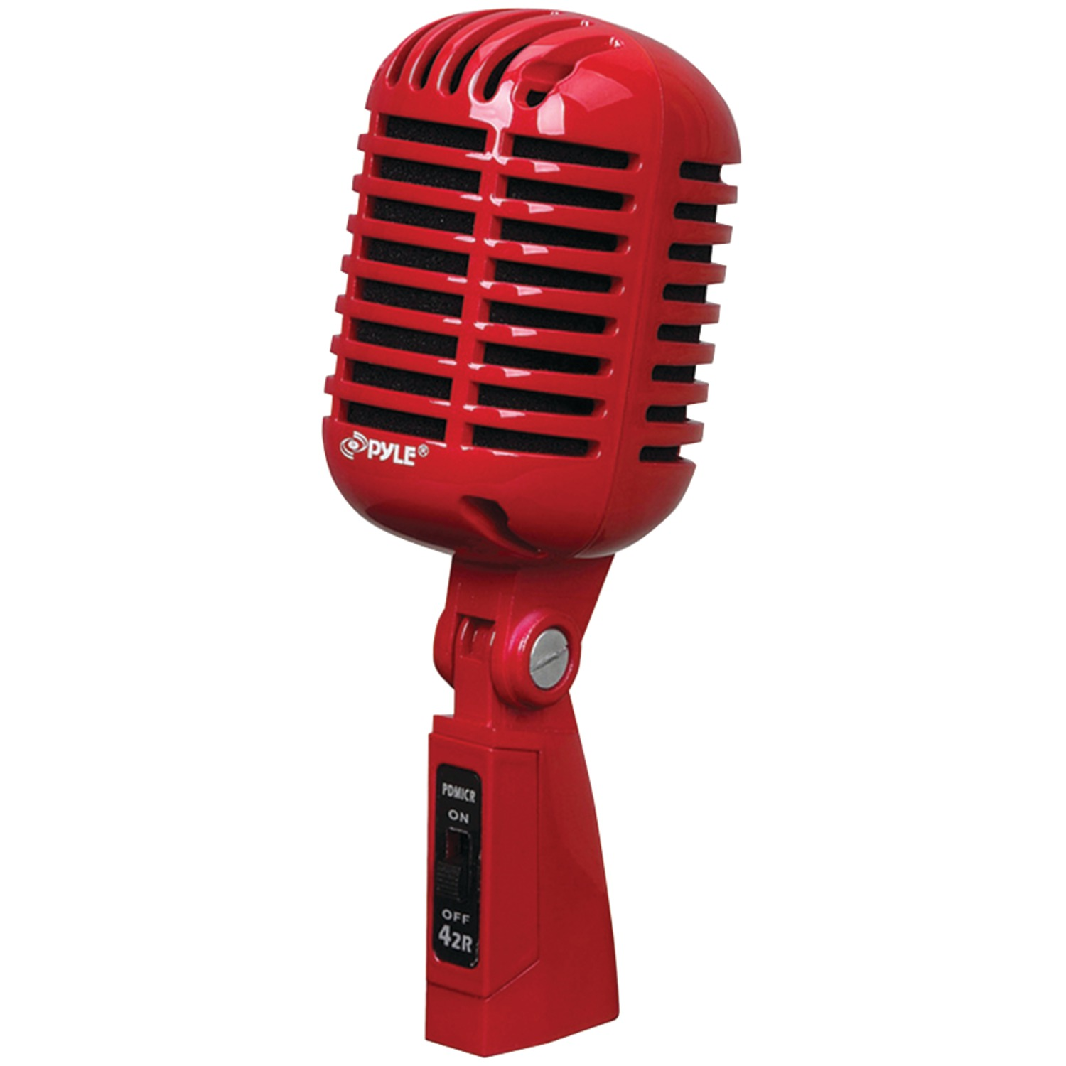 Pyle Pro PDMICR42R Classic Retro-Style Dynamic Vocal Microphone (Red) by Pyle Pro