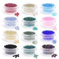 7000  Glass Seed Beads for Jewelry Making Kit for Adults in 12 Different Colors - Size 8 Seed Beads - Craft Glass Beads