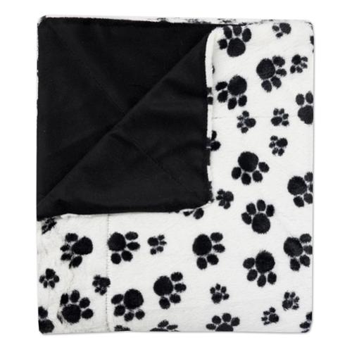 "bed bath n more Sweet Home Collection Dalmation Paw Print Plush Faux Fur Decorative Throw Blanket (50""x60"")"