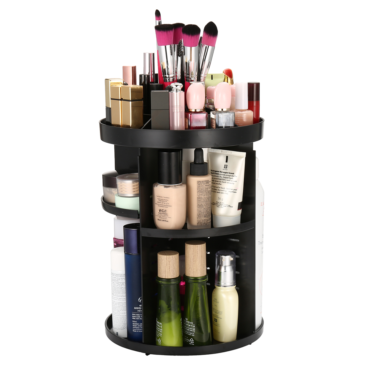 Makeup Organizer Shelf, 360 Degree Rotating Adjustable Multi-Function Cosmetics Storage Box for Different Sizes of Cosmetics,Makeup Brushes,Space-Saving
