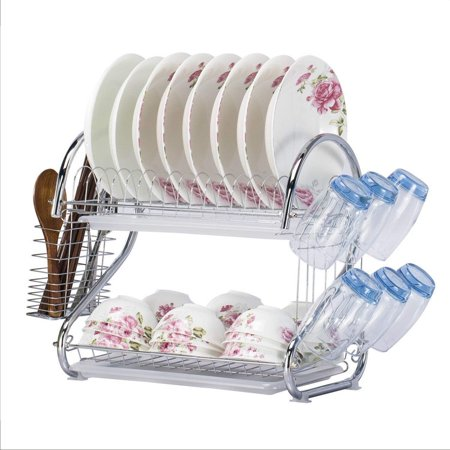 Kitchen 2-Tier Dish Drying Rack and Draining Board - Organized Utensil Holder, Mug Dryer, Fits Large Plates, Travel Mugs, and Baking Accessories - Quick Dry with Drip Tray