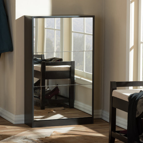 Wholesale Interiors Albany Wood Shoe Storage Cabinet with Mirror