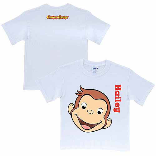 Personalized Curious George Funny Face Kids' White T-Shirt