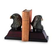 Bey-Berk International R18Y Cast Metal Eagle Bookends with Bronzed Finish on Burl & Black Wood Base