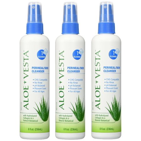 Aloe Vesta Perineal/Skin Cleanser , 8 oz Bottle - Pack of 3 Cleanser 16 Ounce Bottle