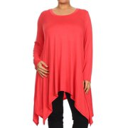 Women's Trendy Style Plus Size Long Sleeves Solid Tunic Top