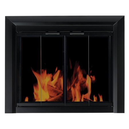 Pleasant Hearth Clairmont Fireplace Screen and Bi-Fold Track-Free Smoked Glass Doors - Black ()