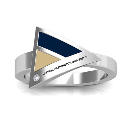 The George Washington University - Colonials Engraved Diamond Geometric Ring In Dark Blue And Tan