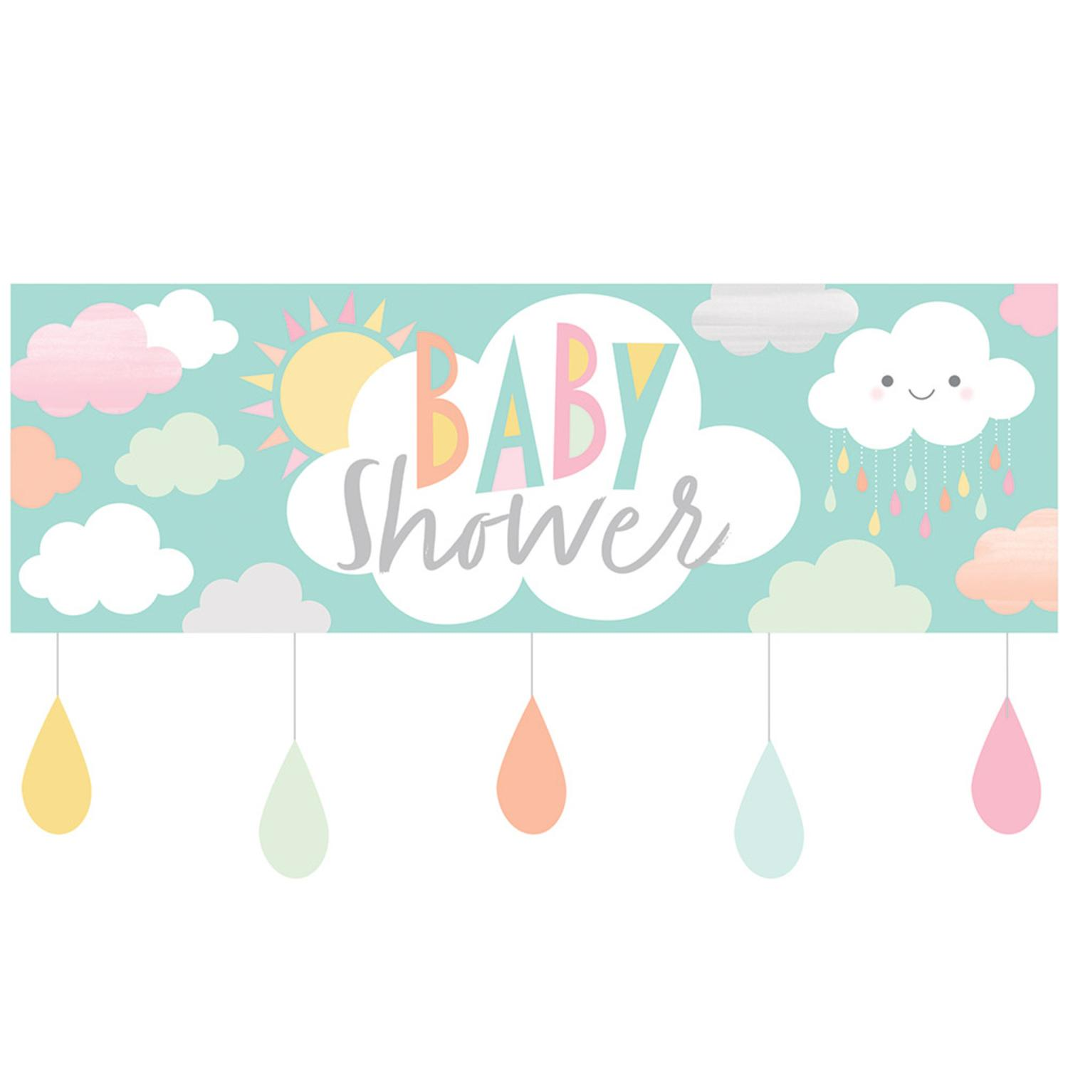 Pack of 6 Blue and White Sunshine Baby Shower Giant Party Banner 8.5""