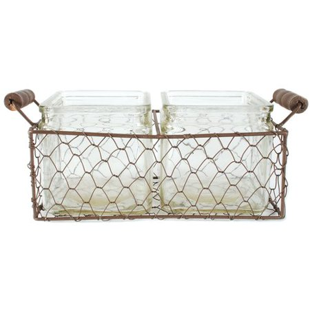 Blossom Bucket Rustic Square Wire 3-Piece Decorative Bottle and Basket Set