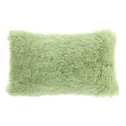 "Unique Bargains Shaggy Decorative Throw Pillow Cover Light Green 12"" x 20"""