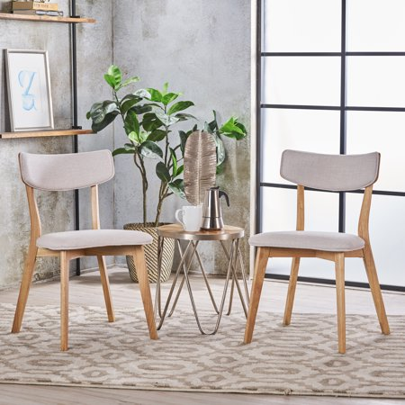 Noble House Sadie Mid Century Modern Wood Fabric Dining Chairs, Set of 2, Natural Oak, - Providence Oak Natural