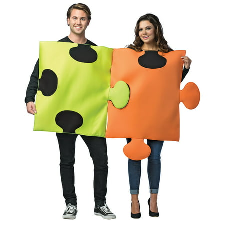 Puzzle Pieces Couples Adult Halloween Costume, One Size, (40-46)