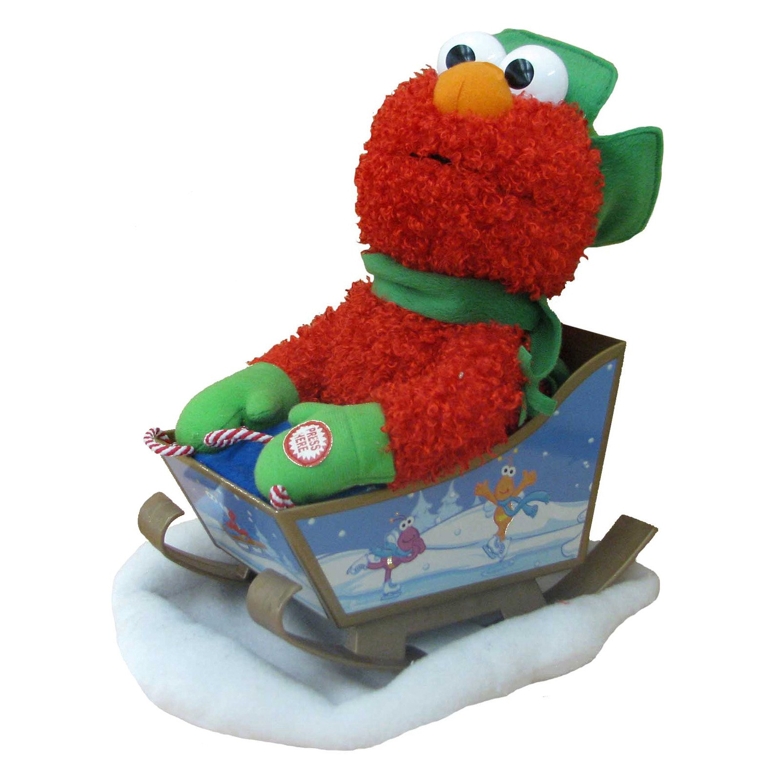 Kurt Adler 10 in. Sesame Street Battery-Operated Singing Animated Elmo with Sled by Kurt Adler