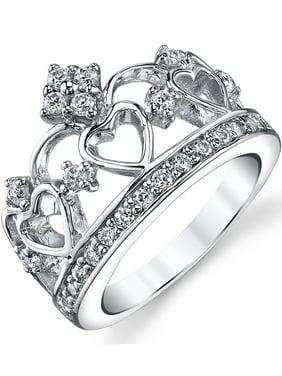 Women's 925 Sterling Silver Cubic Zirconia Princess Crown Tiara CZ Ring
