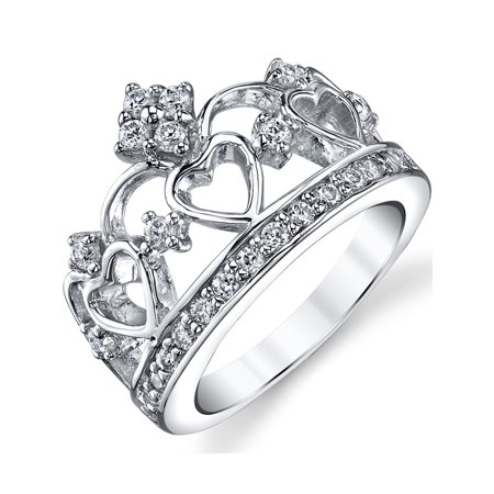 925 sterling silver cubic zirconia princess crown tiara cz band ring walmartcom - Wedding Rings From Walmart