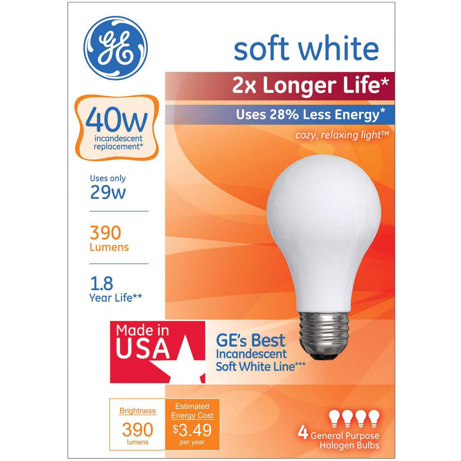 GE Halogen 29W General Purpose 2x Life Soft White 4pk