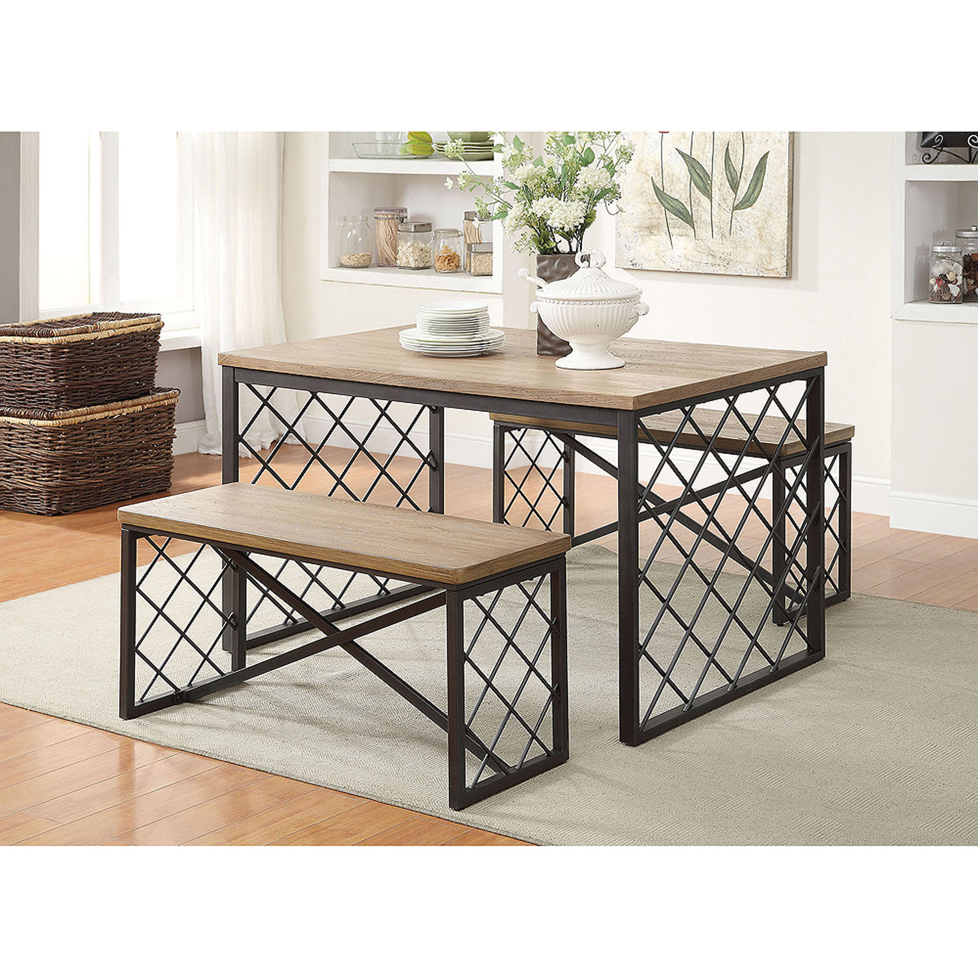 Catalina 3 Piece Dining Set, Light Oak And Grey   Walmart.com