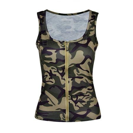 Utowu Womens Sleeveless Camouflage Vest Tops Shirt Blouse Sexy Low Cut Zipper Tank - Sexy Hot Ladies Camo
