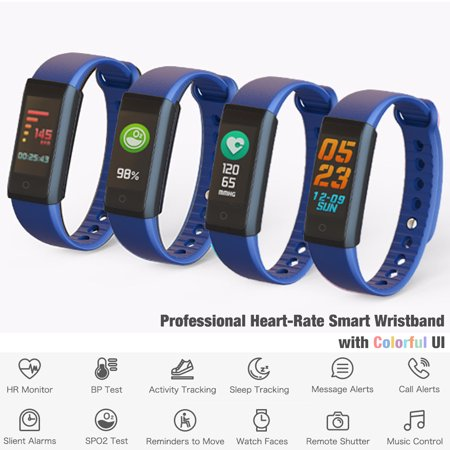 Indigi Smart Fitness Wristband + Bluetooth 4.0 Sync + Heart Rate / Blood Pressure / Sleep Monitor / Pedometer for iOS &