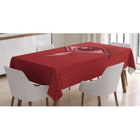 Eye Tablecloth, Graphic Design Inspired by an All Seeing Eye of an Ancient Mythology Character, Rectangular Table Cover for Dining Room Kitchen, 60 X 84 Inches, Ruby Coral Burgundy, by Ambesonne