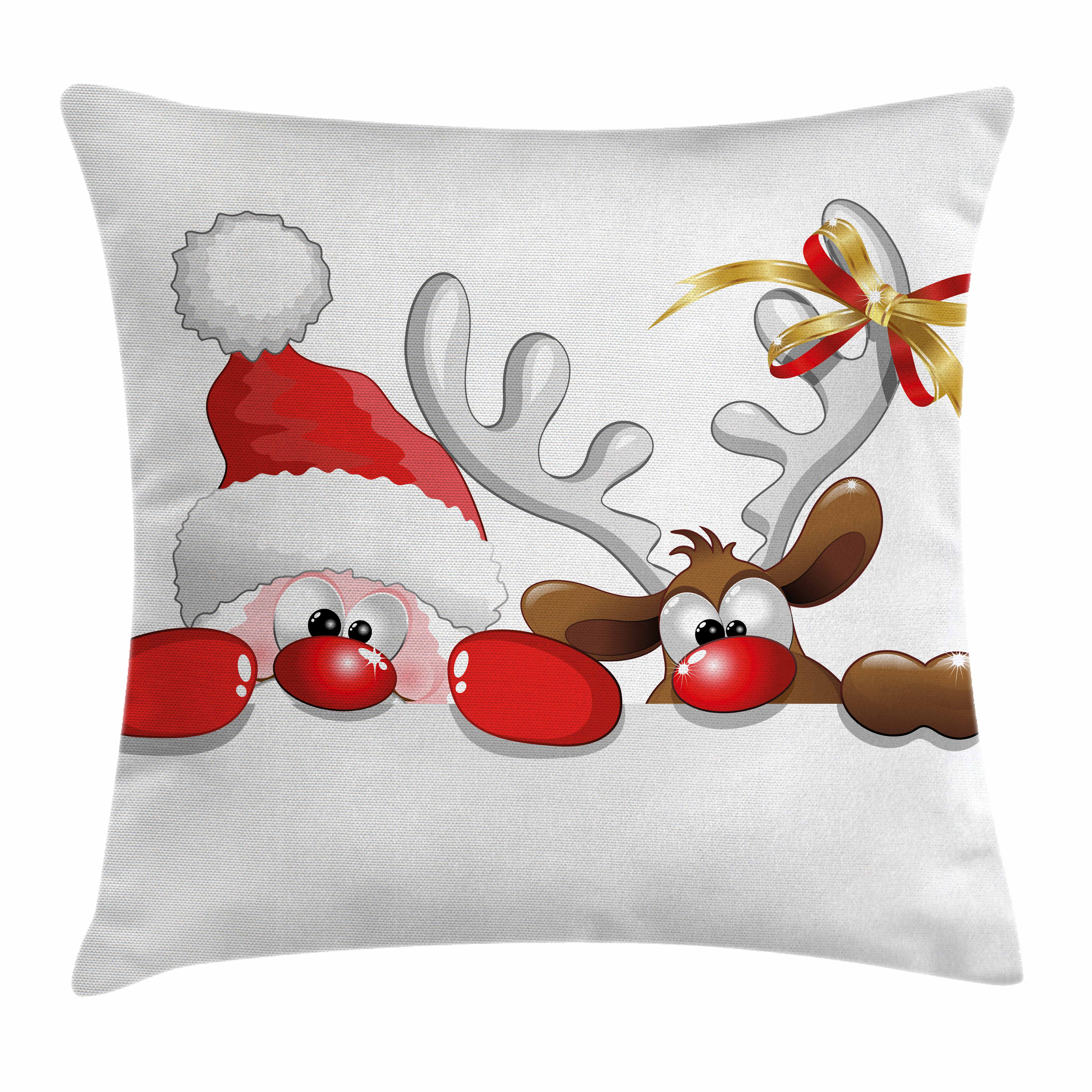 Christmas Throw Pillow Cushion Cover, Funny Christmas Santa Claus and Reindeer Peeking Cartoon Style Humor Kids, Decorative Square Accent Pillow Case, 16 X 16 Inches, Red Brown Silver, by Ambesonne