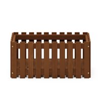 Furinno Tioman Hardwood Slat Style Flower Planter Box in Teak Oil