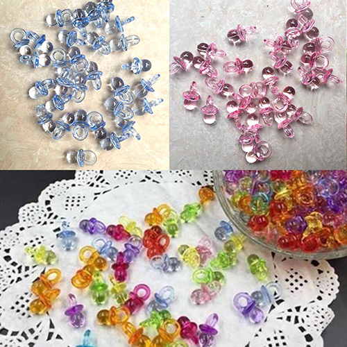 Girl12Queen 50 Pcs Clear Acrylic Mini Pacifiers Baby Shower Party Favor Girl Boy Game Decor