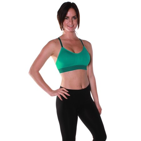 Emmalise Women's Athletic Compression Sports Bra with Adjustable Straps Top (S/M,