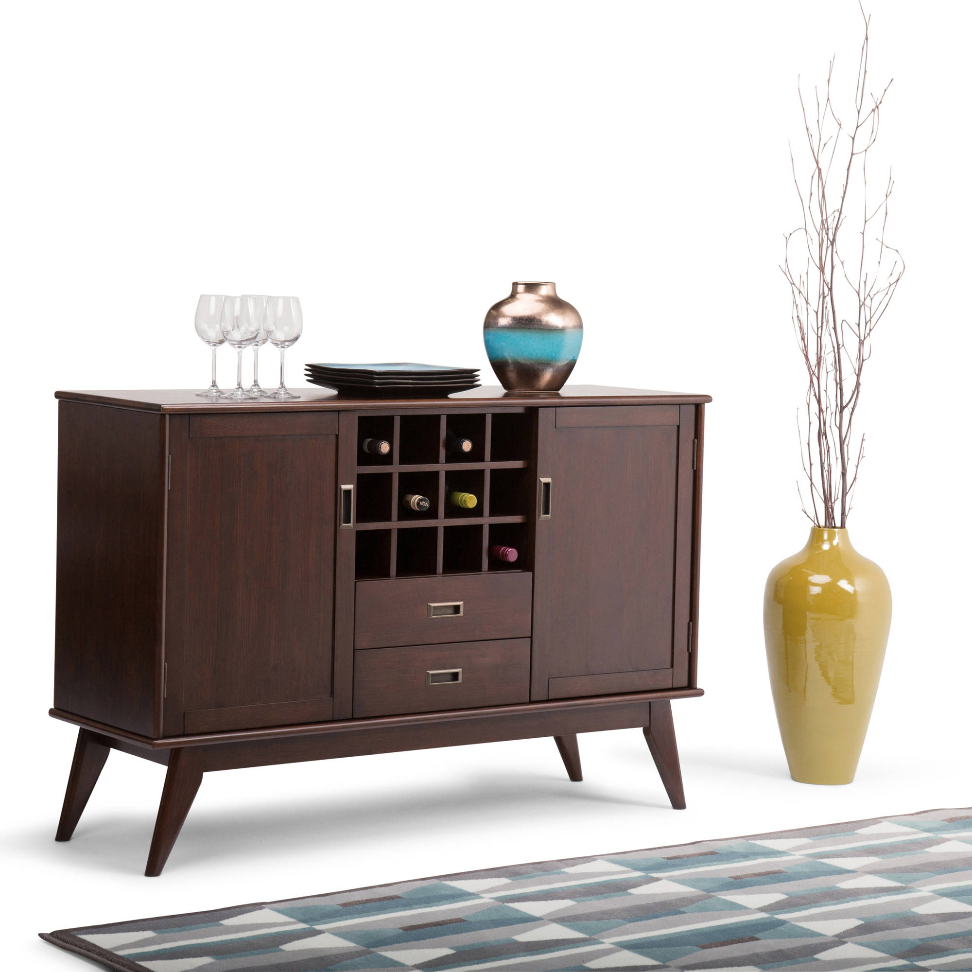 Draper Mid Century Sideboard Buffet & Winerack by CCT Global Sourcing Inc