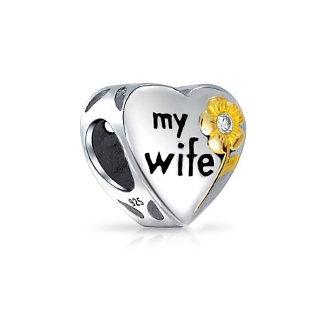 Flower Daisy Two Tone CZ Heart Word Engrave My Wife Charm Bead 14K Gold Plated 925 Sterling Silver Fit European Bracelet