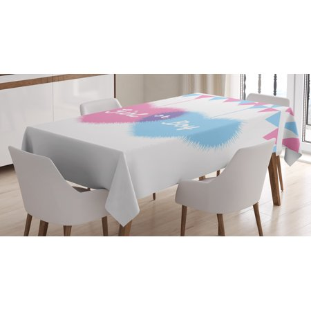 Gender Reveal Decorations Tablecloth, Girl and Boy Hearts Flags Celebration for Newborn Family, Rectangular Table Cover for Dining Room Kitchen, 52 X 70 Inches, Light Pink and Blue, by Ambesonne](Pink And Blue Table Decorations)