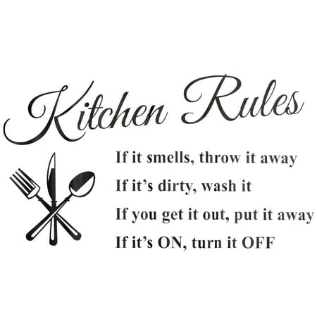 """1Pc Removable Kitchen Rules Words Wall Stickers Decal Home Decor Vinyl Art Mural 23.62""""x 12.99"""""""