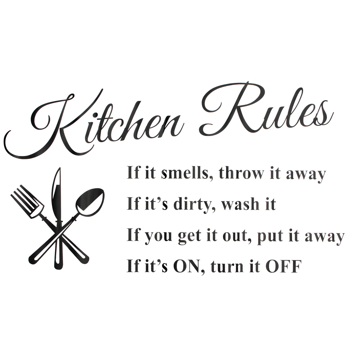 Removable Kitchen Rules Words Wall Stickers Decal Home Decor