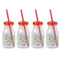 Mainstays Kids 4-Pack 13 ounce Milk Bottle with Straw and Lid, Multiple Prints