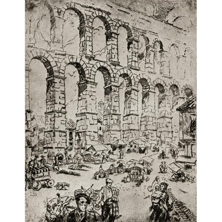 Posterazzi DPI1858369LARGE Aqueduct At Segovia. Segovia Spain. Etching by Ada C.Williamson From The Book Tawny Spain Published 1927 Poster Print, Large - 26 x 34 - image 1 of 1